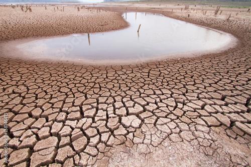 Zmiany klimatu susza ziemia i woda w jeziorze