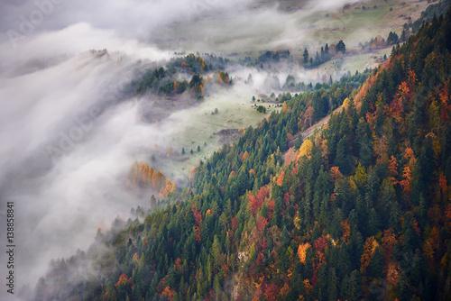 Pieniny, górska dolina we mgle jesienią