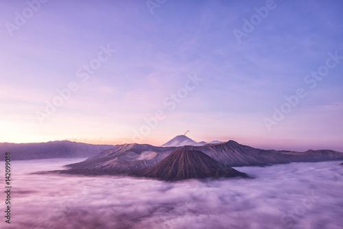 Bromo, Batok and Semeru volcanoes at sunrise, Java island, Tengger Semeru national park, East Java, Indonesia