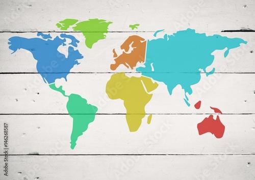 Kolorowa mapa z farbą splatters na drewnianym tle