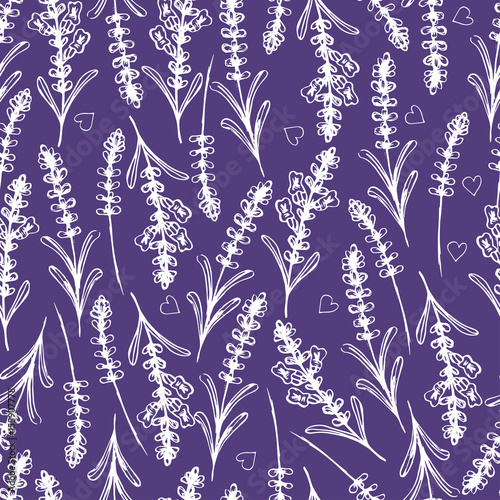 Hand drawn seamless pattern with lavender. Vector illustration