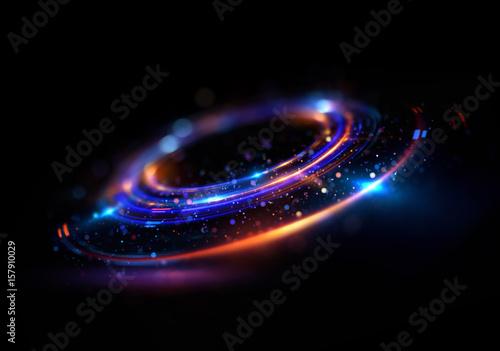 Abstrakcyjne tło. świetlisty wir. Eleganckie świecące koło. Jasna spirala. Świecąca wstążka. Pusta przestrzeń. Cząstka iskierka. Tunel kosmiczny. Błyszcząca orbita. Kolorowa elipsa. Błyszcząca galaktyka. Owalny etap