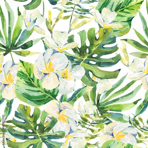 Akwarela bezszwowe wzór z tropikalnych liści i orchidei