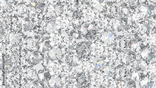 3D illustration group of mane round diamond