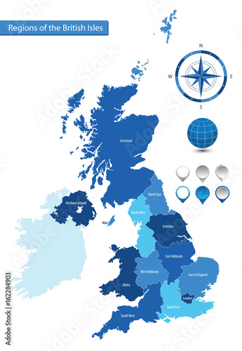 Vector map of the regions of the British Isles