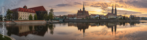 Evening panorama of the historic part of Wroclaw