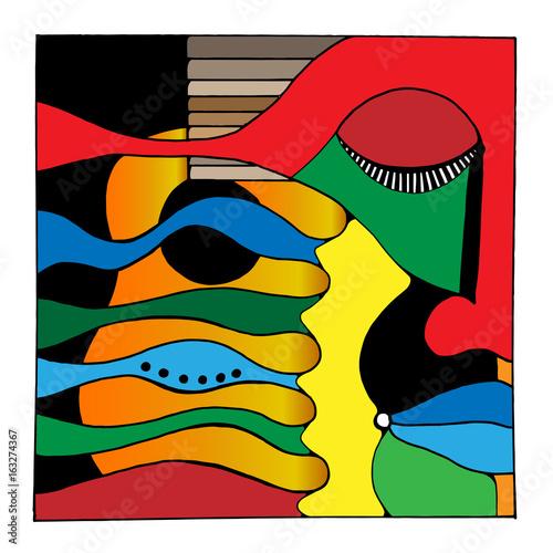Abstrakcjonistyczna sztuka kolorowa twarz i gitara.