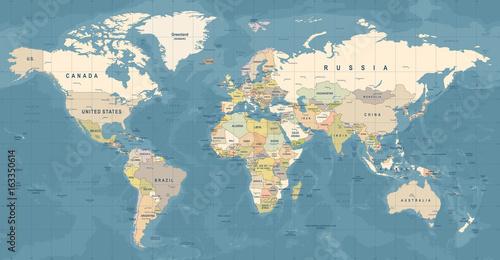 Mapa świata wektor Szczegółowa ilustracja mapy świata