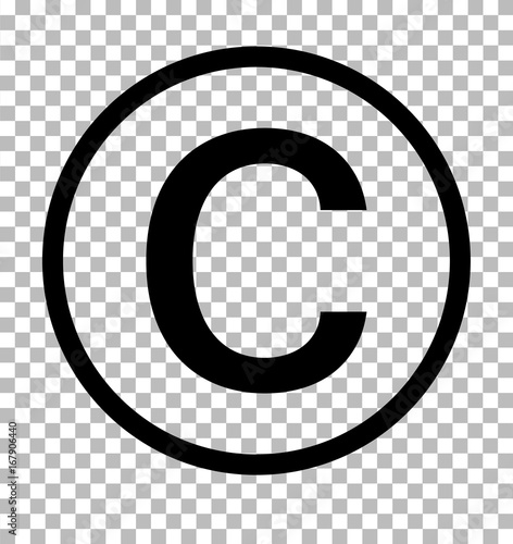 symbol praw autorskich na przezroczystym tle. znak praw autorskich. ikona praw autorskich