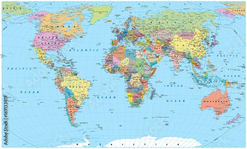 Kolorowa mapa świata - granice, kraje, drogi i miasta