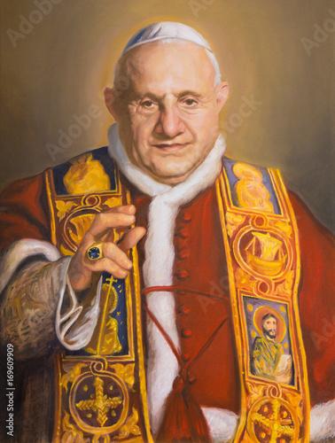 VIENNA, AUSTRIA - JULY 30, 2014: The portrait of St. John XXIII in church Karlskirche (Charles Borromeo) by Clemens Fuchs (2014).