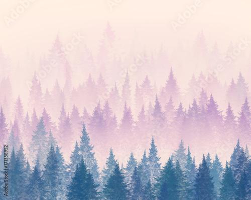 Las we mgle. Minimalistyczna ilustracja. Rysunek cyfrowy.