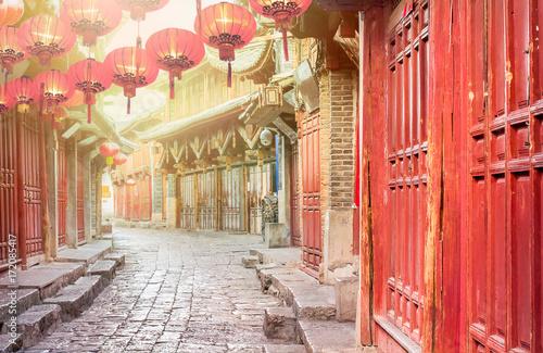 Chiński stary miasteczko w ranku, Lijiang Yunnan, Chiny