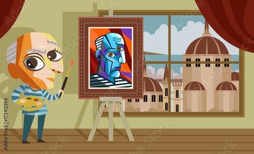 kubista kreskówka malarz w warsztacie