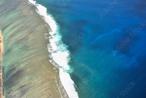 Old effect picture, aerial view on beach, Reunion Island, France