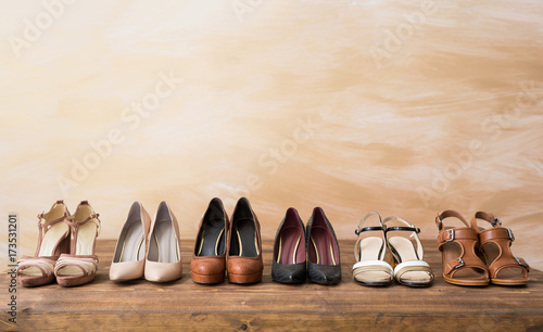 Organized woman's shoes on wooden floor