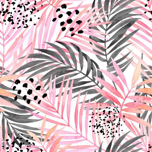 Akwarela, różowy i graficzny obraz liści palmowych.