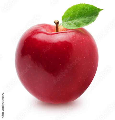 Pojedyncze jabłka. Cała czerwień, różowa jabłczana owoc z liściem odizolowywającym na bielu, z ścinek ścieżką