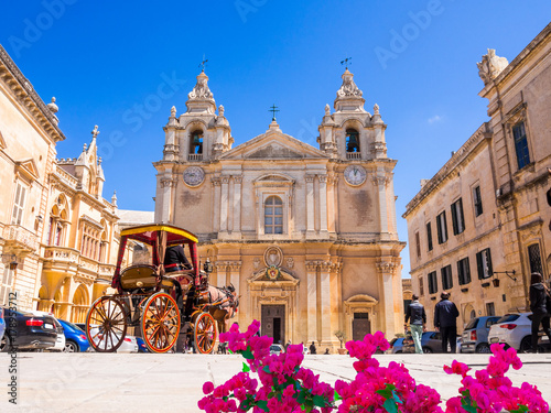 Town square and Saint Poul Cathedral in Mdina village of Malta in Europe