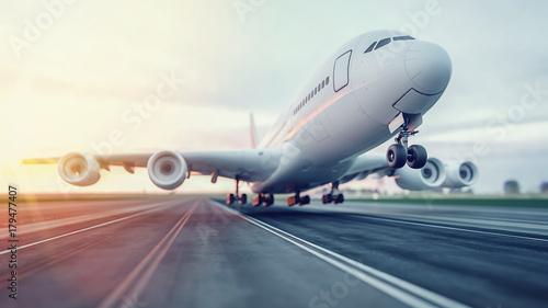 Samolot startuje z lotniska.