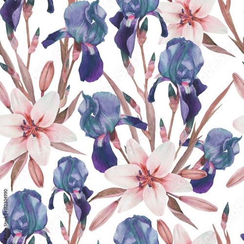 Kwiatowy wzór z ręcznie rysowane akwarela irysy i białe lilie w stylu vintage