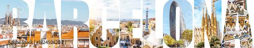 Litery Barcelony wypełnione zdjęciami słynnych miejsc i krajobrazów miejskich w Barcelonie, Hiszpania