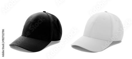 Czapka z daszkiem białe i czarne szablony, widoki z przodu na białym tle