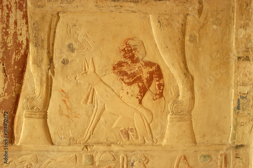 Ancient egypt art and hieroglyphs carved on the stone