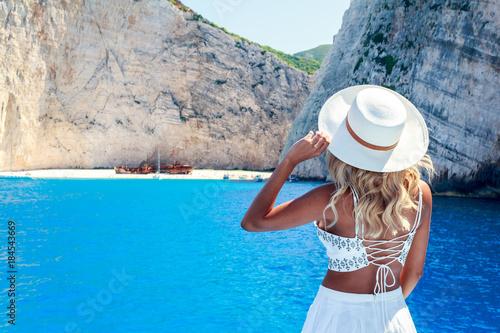 Model Photography in Shipwreck Beach ( Navagio ) in Zakynthos , Greece.