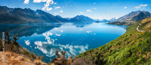 Bennett's Bluff Lookout, New Zealand -A Viewpoint on one of the most scenic drives in New Zealand that connects Queenstown and Glenorchy and overlooks Pig and Pidgeon Islands and Lake Wakatipu.