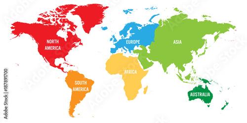 Mapa świata podzielona na sześć kontynentów. Każdy kontynent w innym kolorze. Prosta płaska wektorowa ilustracja.
