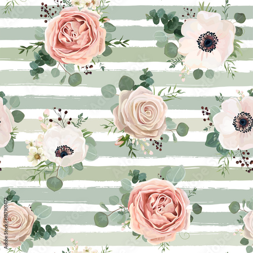 Seamless pattern Vector floral watercolor design: garden powder white pink Anemone flower silver Eucalyptus green thyme herb wax greenery leaves berry. Rustic background stripped blue green pale print