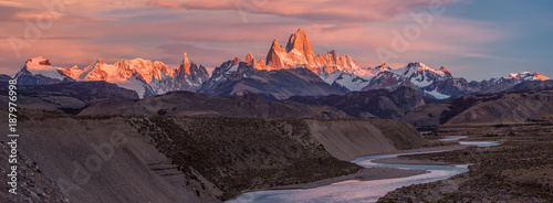 Fitz Roy mountain near El Chalten, in the Southern Patagonia, on the border between Argentina and Chile. Sunrise view