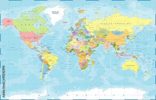 Mapa polityczna świata kolorowy wektor