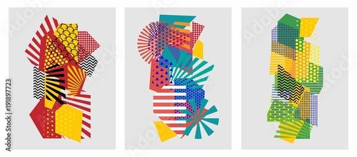Kolorowe modne geometryczne płaskie elementy wzoru Memphis. Tekstura stylu pop-art. Nowoczesny projekt streszczenie plakat i szablon okładki