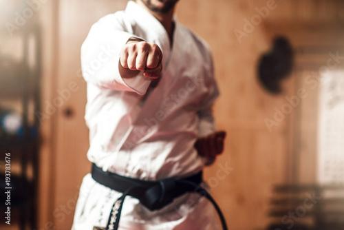 Mistrz sztuk walki na treningu walki w siłowni