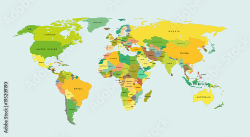 Szczegółowa mapa świata z krajami. Ilustracji wektorowych