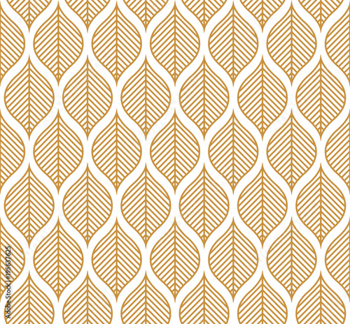 Vector Geometric Leaf Seamless Pattern. Abstract leaves texture.