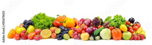 Panorama bright vegetables and fruits isolated on white