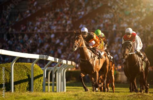 Dwóch dżokejów podczas wyścigów konnych na koniach zmierzających do mety. Tradycyjny sport europejski.