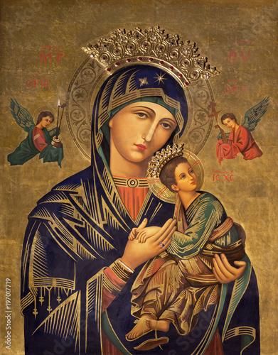 ZARAGOZA HISZPANIA, MARZEC, - 1 marca 2018: Obraz ikona Madonna w kościelnym Iglesia del Perpetuo Socorro przez pater Jesus Faus (1953-1959).