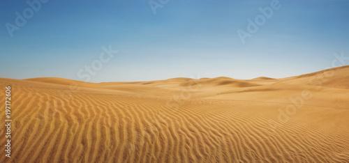 Wydmy przy pustej pustyni, panoramiczny natury tło z kopii przestrzenią