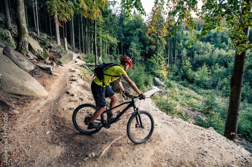 Rowerzysta górski jazda na rowerze w lesie jesienią