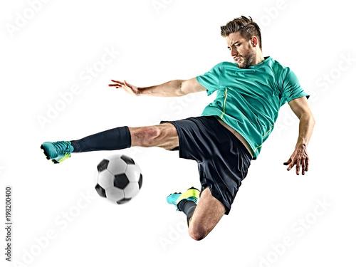jeden kaukaski piłkarz mężczyzna na białym tle