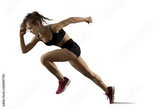 Kobieta lekkoatletka pozostawiając zaczynając na torze sportowym