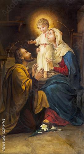 PARMA WŁOCHY, KWIECIEŃ, - 16, 2018: Obraz Święta rodzina w kościelnym Chiesa di San Benedetto nieznanym artystą 19 centów.