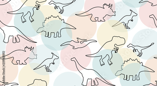 Gentle pastel colored pattern with dinosaurs