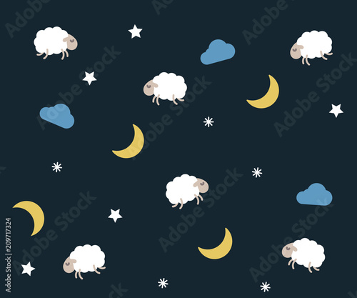 Cute night seamless pattern background for kids bedtime sleeping. Vector wallpaper illustration with clouds, moons, stars, sheeps or lambs