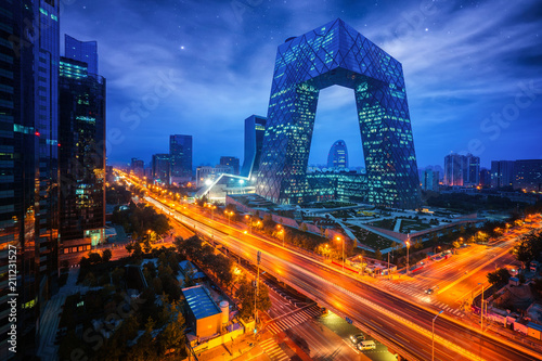 Night cityscape with bilding and road in Beijing city