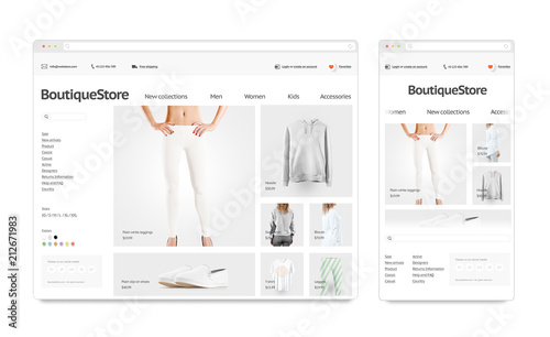 Fashion web store adaptivity template mock up set isolated, 3d rendering. Clothing web page interface mockup. Internet browsers website template. Websstore screen layout for computer display.